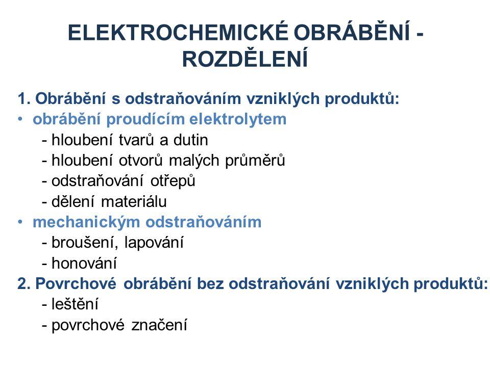 ELEKTROCHEMICKÉ OBRÁBĚNÍ - ROZDĚLENÍ