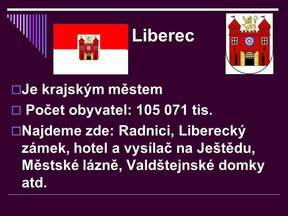 Liberec Je krajským městem Počet obyvatel: 105 071 tis.