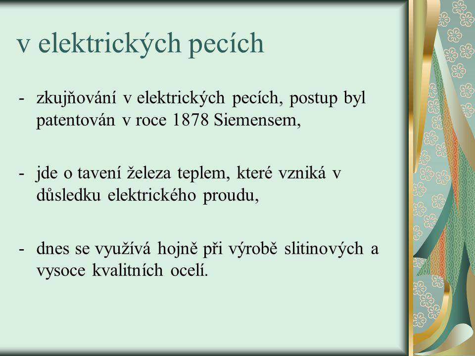 v elektrických pecích zkujňování v elektrických pecích, postup byl patentován v roce 1878 Siemensem,