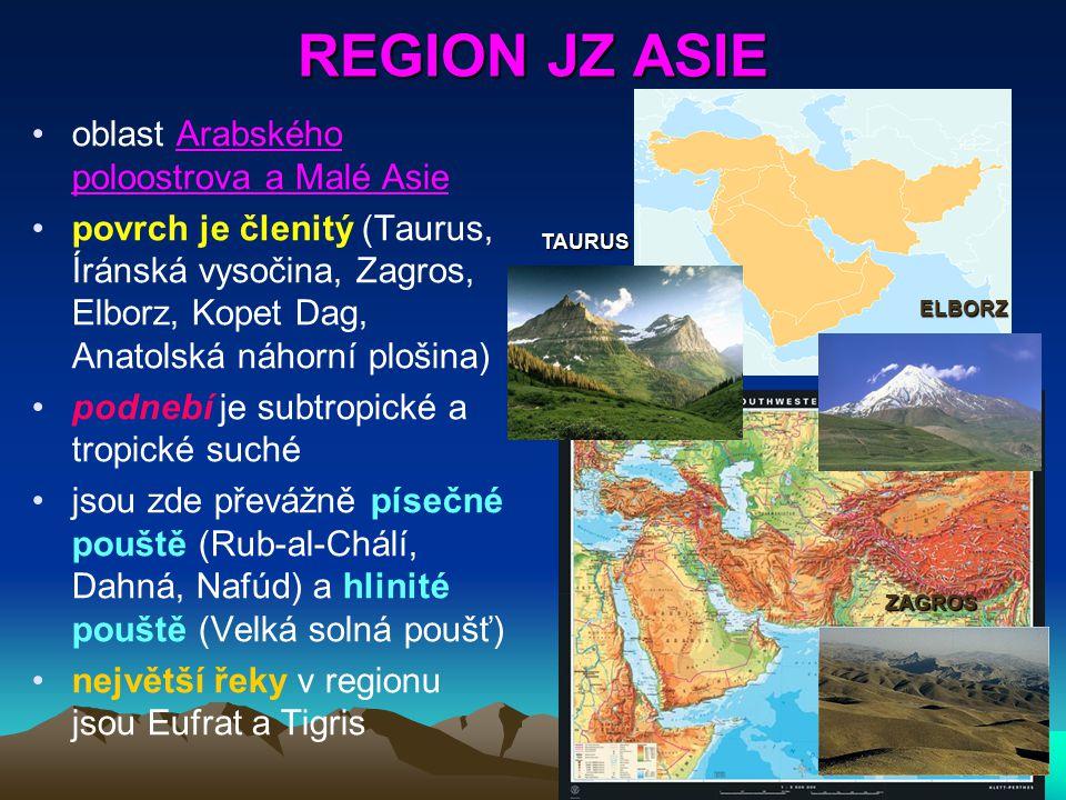REGION JZ ASIE oblast Arabského poloostrova a Malé Asie