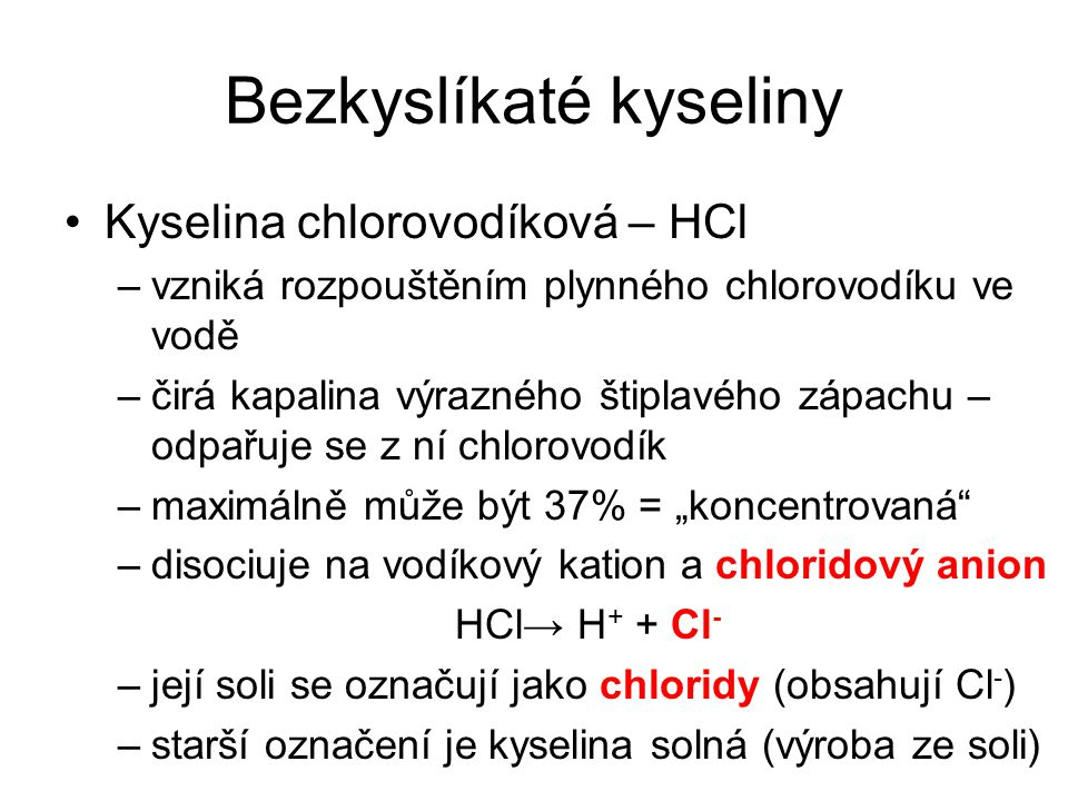 Bezkyslíkaté kyseliny