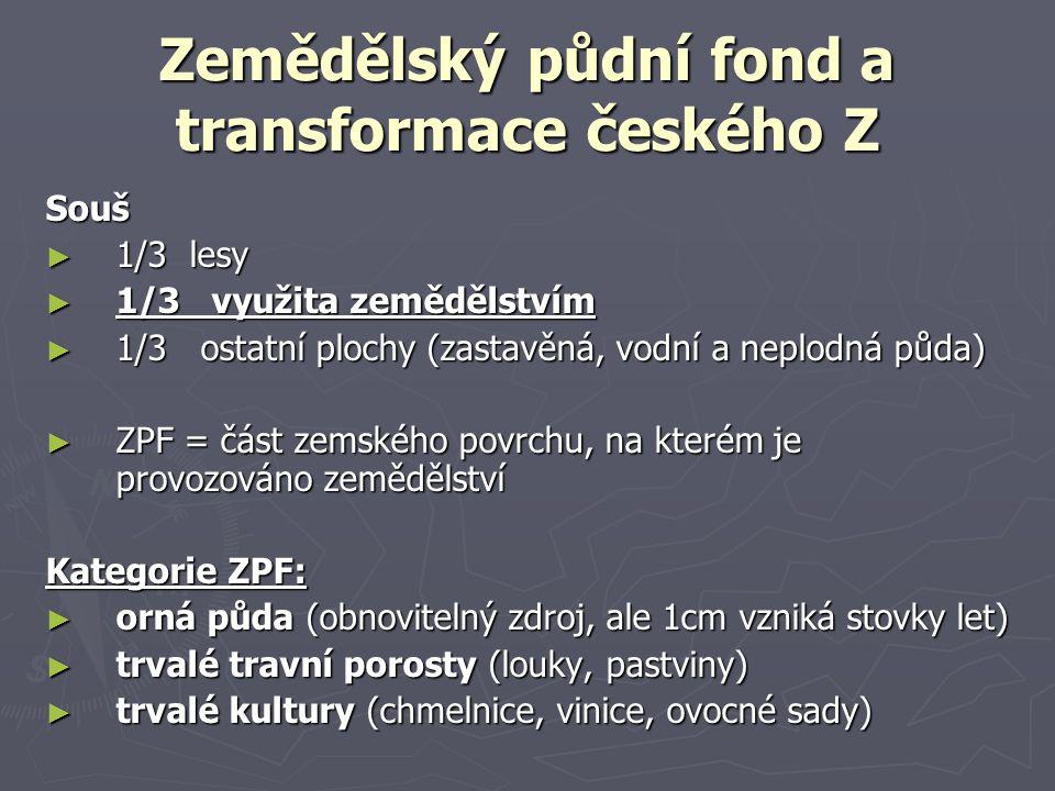 Zemědělský půdní fond a transformace českého Z