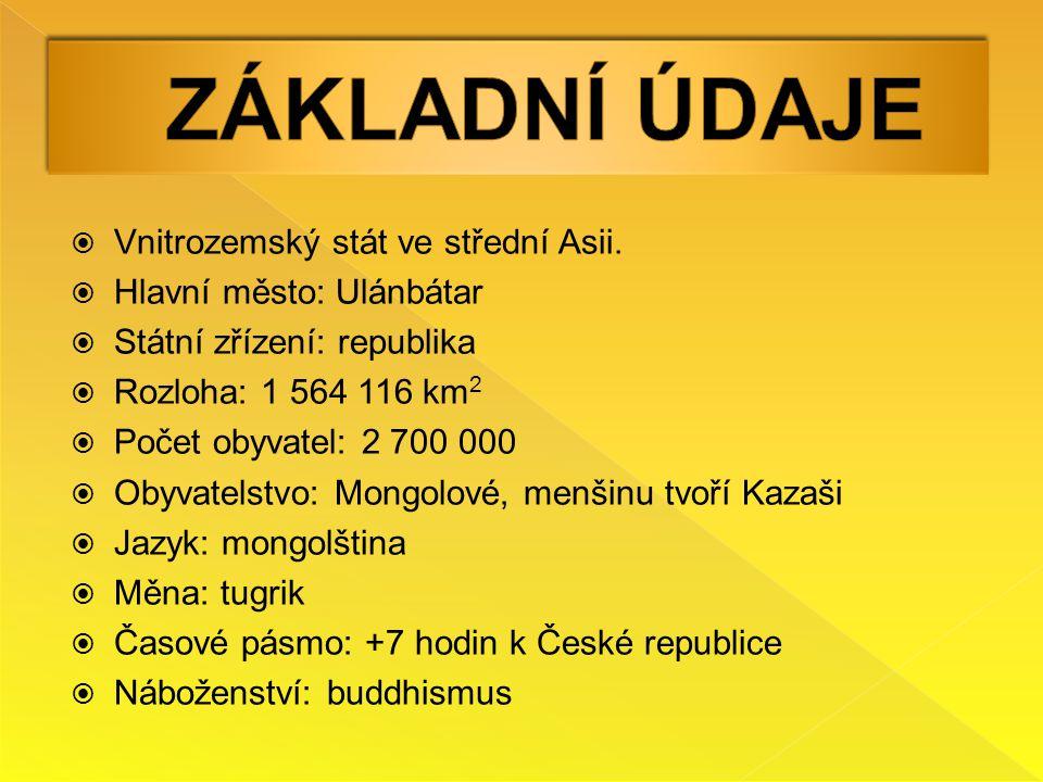 Základní Údaje Vnitrozemský stát ve střední Asii.