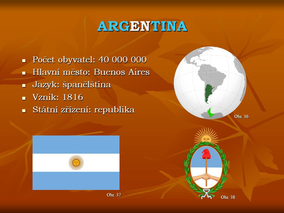 ARGENTINA Počet obyvatel: 40 000 000 Hlavní město: Buenos Aires
