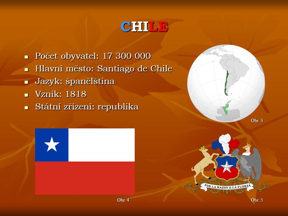 CHILE Počet obyvatel: 17 300 000 Hlavní město: Santiago de Chile