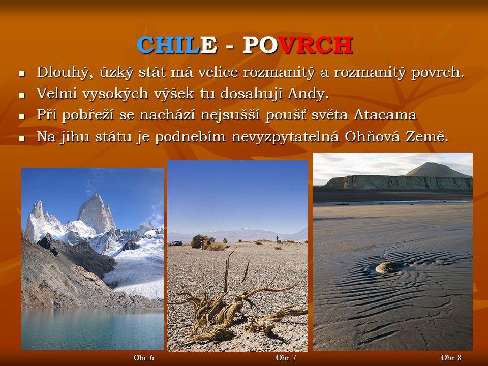 CHILE - POVRCH Dlouhý, úzký stát má velice rozmanitý a rozmanitý povrch. Velmi vysokých výšek tu dosahují Andy.
