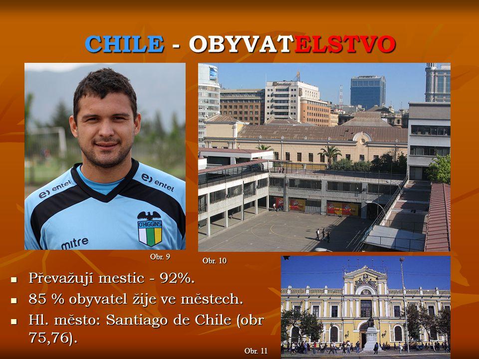 CHILE - OBYVATELSTVO Převažují mestic - 92%.