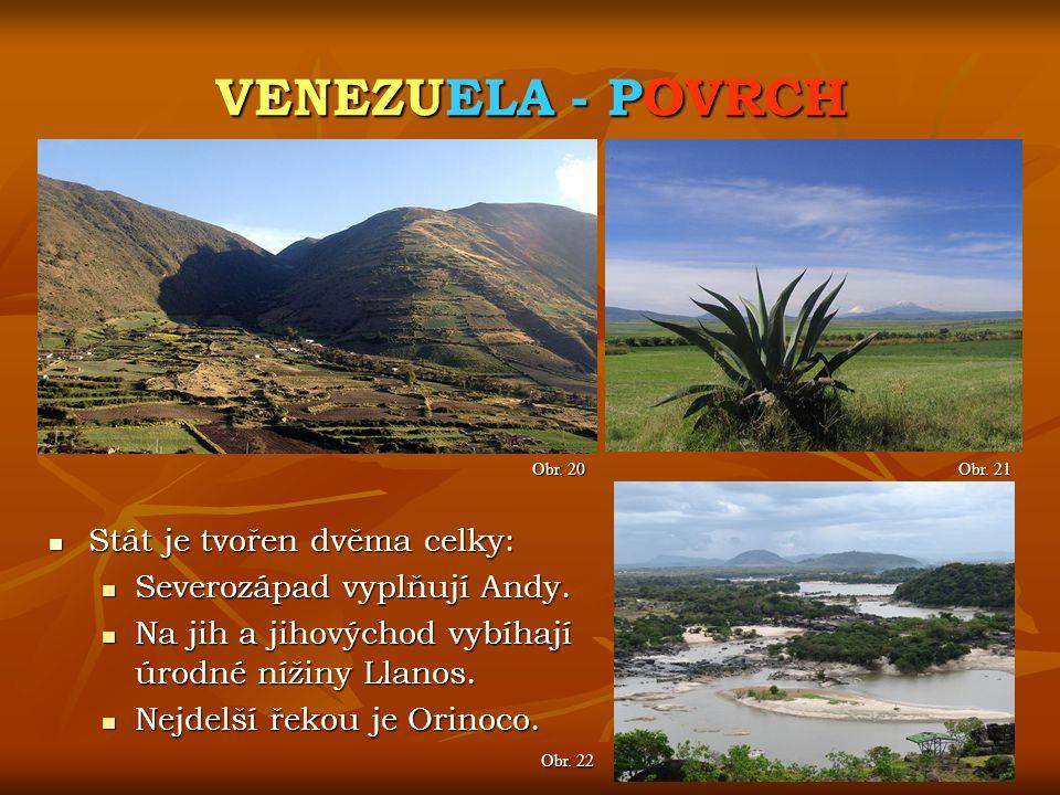 VENEZUELA - POVRCH Stát je tvořen dvěma celky: