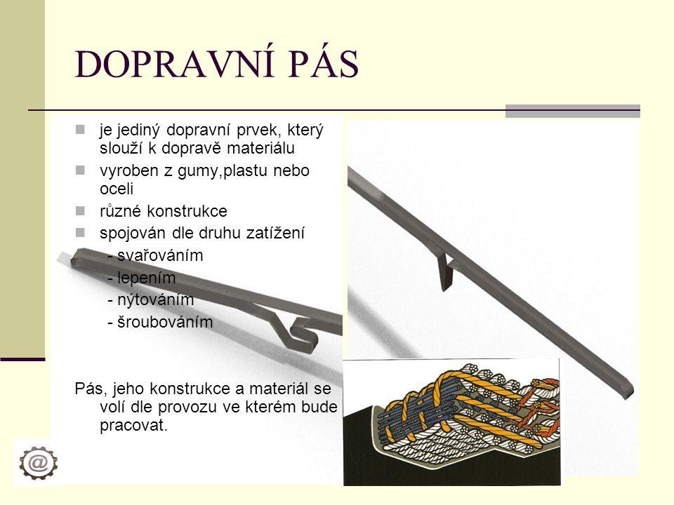 DOPRAVNÍ PÁS je jediný dopravní prvek, který slouží k dopravě materiálu. vyroben z gumy,plastu nebo oceli.