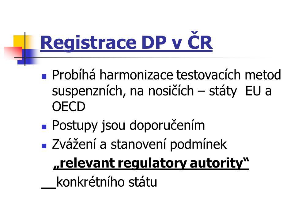 Registrace DP v ČR Probíhá harmonizace testovacích metod suspenzních, na nosičích – státy EU a OECD.
