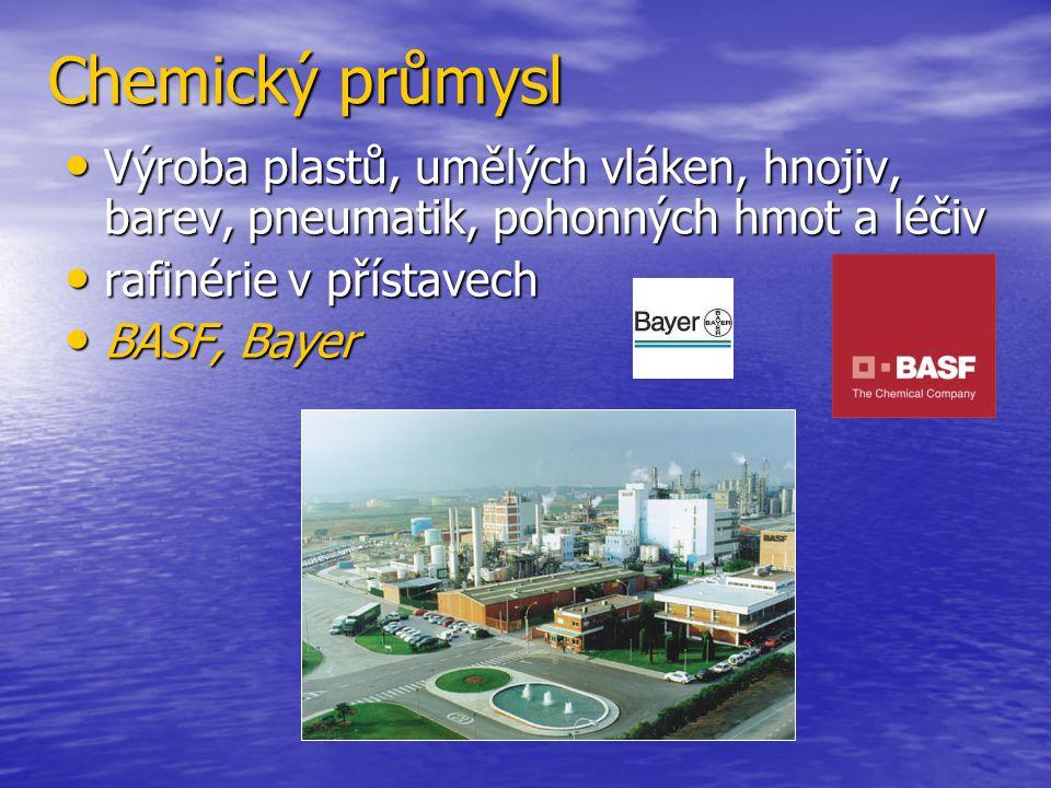 Chemický průmysl Výroba plastů, umělých vláken, hnojiv, barev, pneumatik, pohonných hmot a léčiv. rafinérie v přístavech.