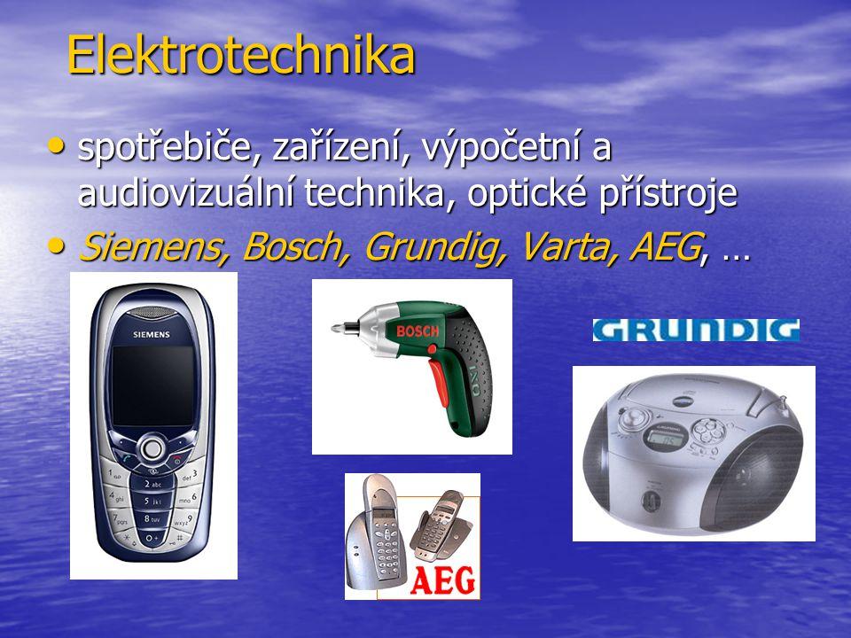 Elektrotechnika spotřebiče, zařízení, výpočetní a audiovizuální technika, optické přístroje.