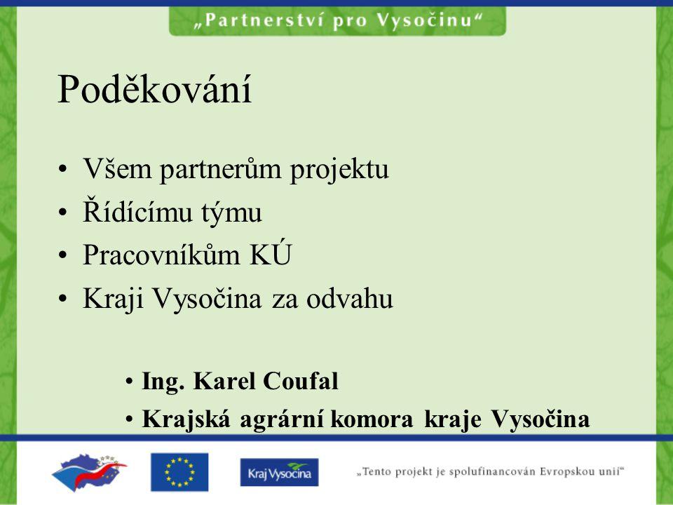 Poděkování Všem partnerům projektu Řídícímu týmu Pracovníkům KÚ