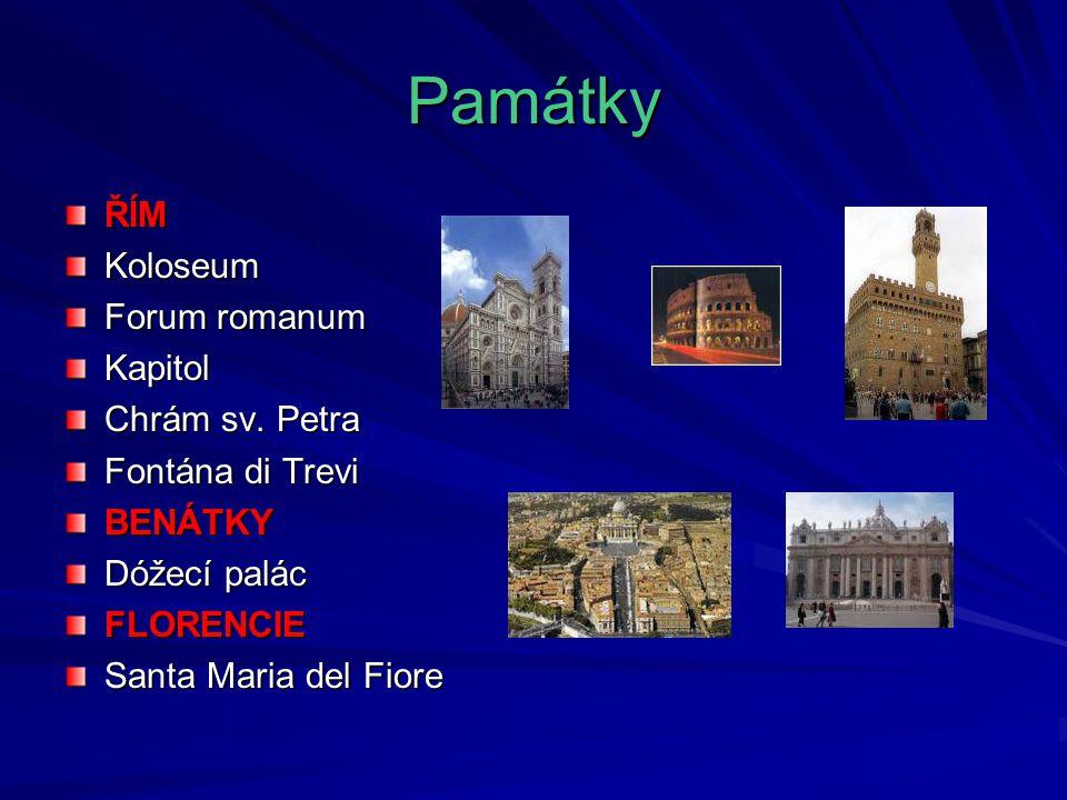 Památky ŘÍM Koloseum Forum romanum Kapitol Chrám sv. Petra