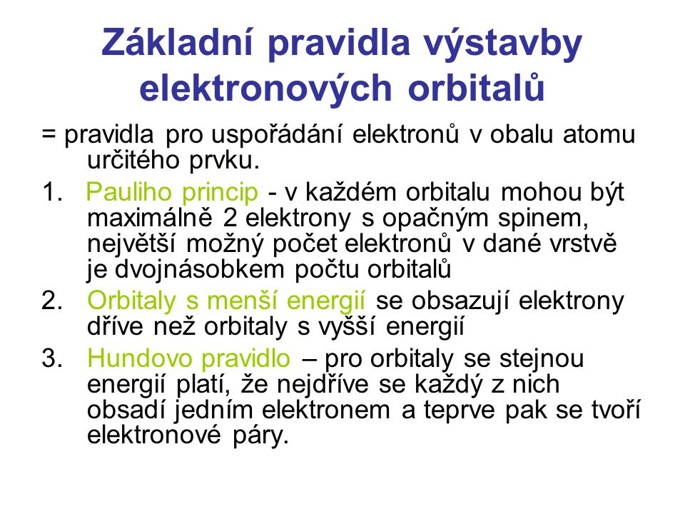 Základní pravidla výstavby elektronových orbitalů