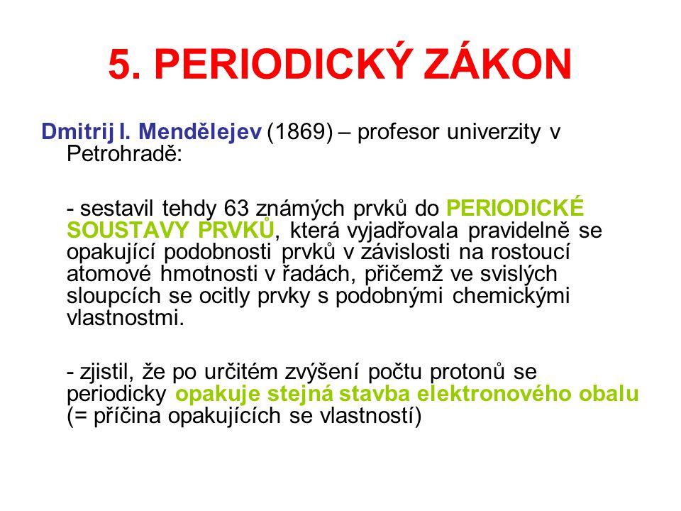 5. PERIODICKÝ ZÁKON Dmitrij I. Mendělejev (1869) – profesor univerzity v Petrohradě: