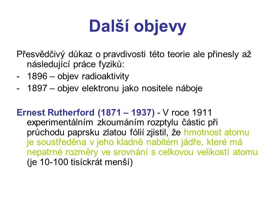 Další objevy Přesvědčivý důkaz o pravdivosti této teorie ale přinesly až následující práce fyziků: 1896 – objev radioaktivity.