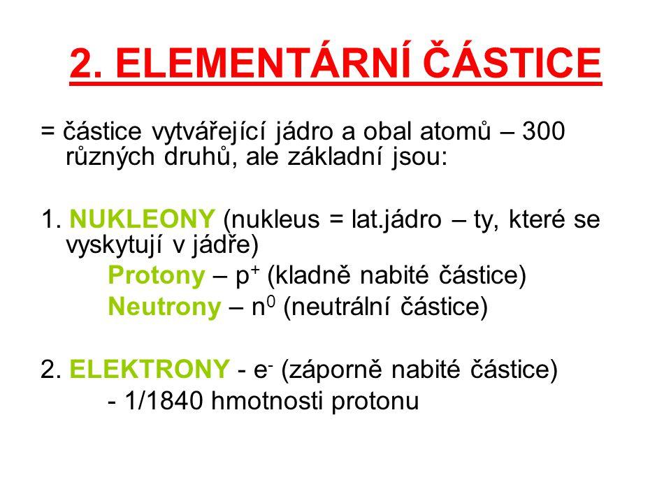 2. ELEMENTÁRNÍ ČÁSTICE = částice vytvářející jádro a obal atomů – 300 různých druhů, ale základní jsou: