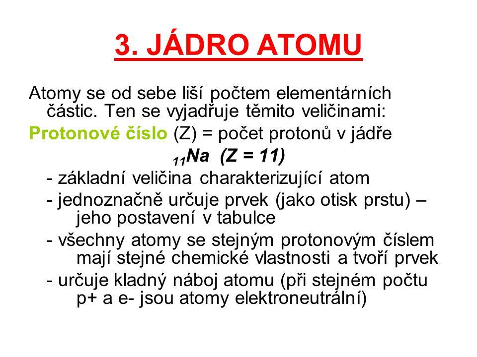 3. JÁDRO ATOMU Atomy se od sebe liší počtem elementárních částic. Ten se vyjadřuje těmito veličinami: