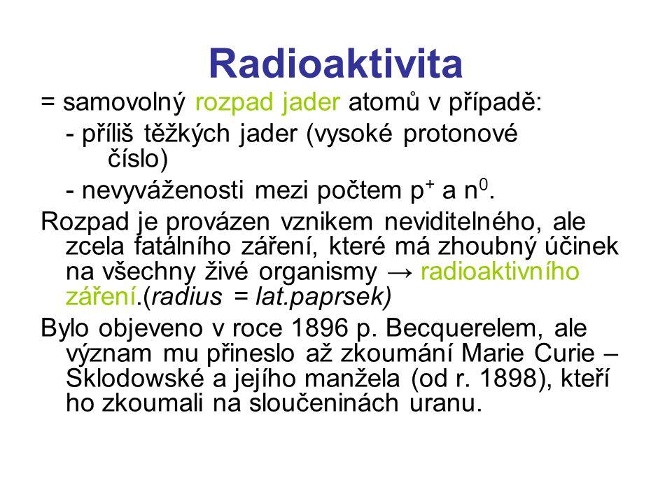 Radioaktivita = samovolný rozpad jader atomů v případě: