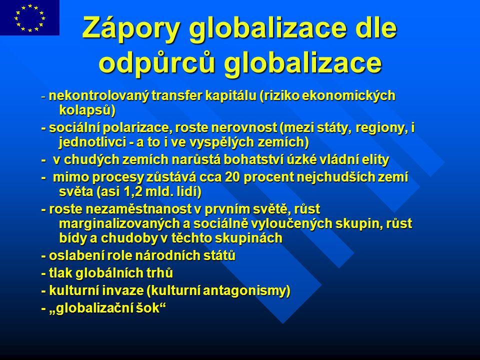 Zápory globalizace dle odpůrců globalizace