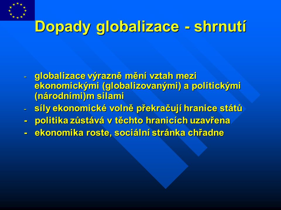 Dopady globalizace - shrnutí