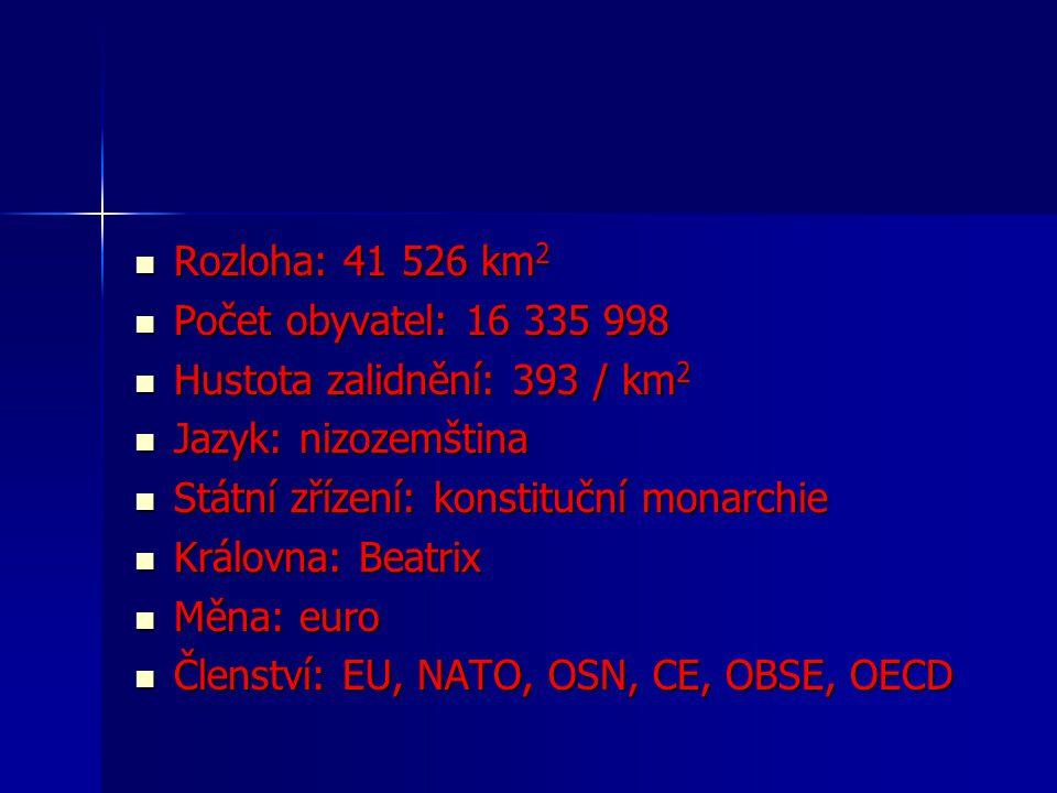 Rozloha: 41 526 km2 Počet obyvatel: 16 335 998. Hustota zalidnění: 393 / km2. Jazyk: nizozemština.