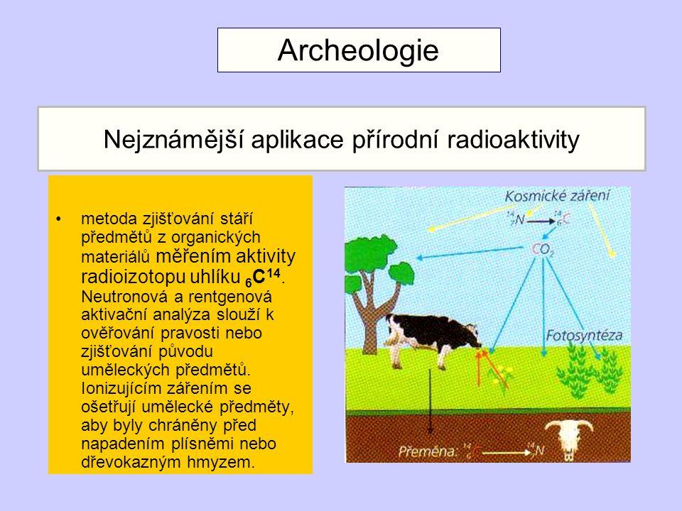 Nejznámější aplikace přírodní radioaktivity