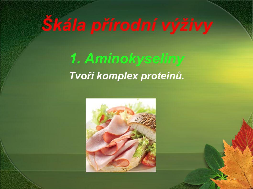 1. Aminokyseliny Tvoří komplex proteinů.