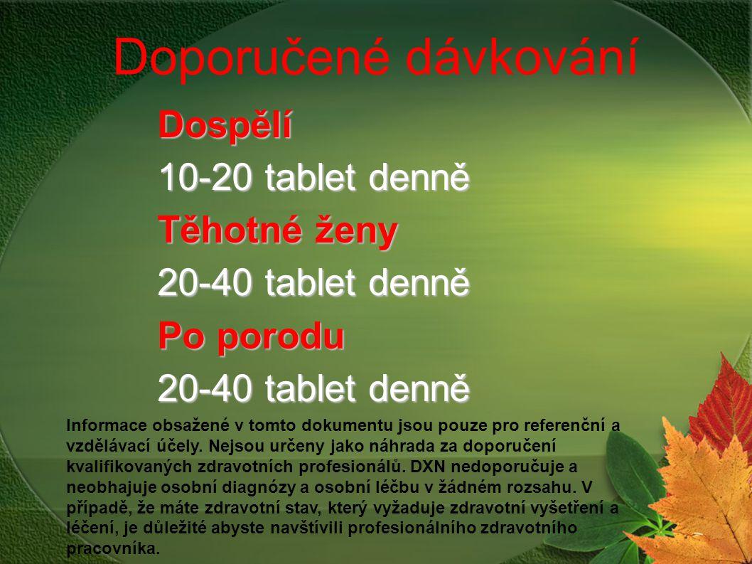 Doporučené dávkování Dospělí 10-20 tablet denně Těhotné ženy