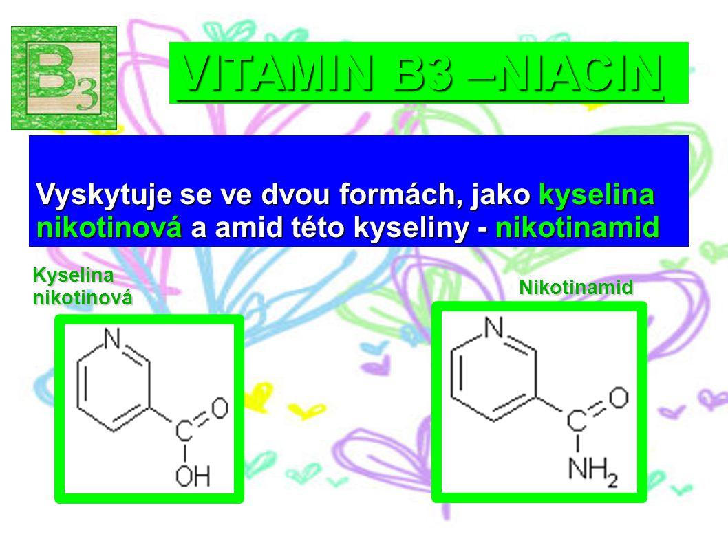 VITAMIN B3 –NIACIN Vyskytuje se ve dvou formách, jako kyselina nikotinová a amid této kyseliny - nikotinamid.