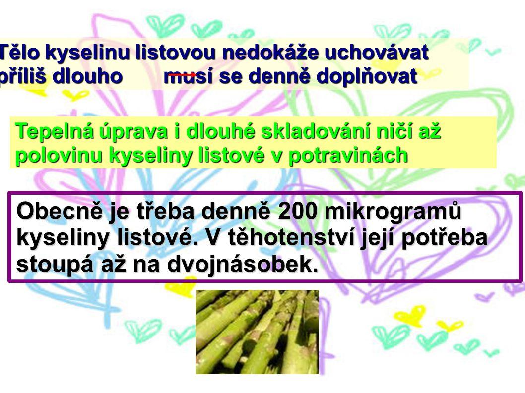 Tělo kyselinu listovou nedokáže uchovávat příliš dlouho musí se denně doplňovat