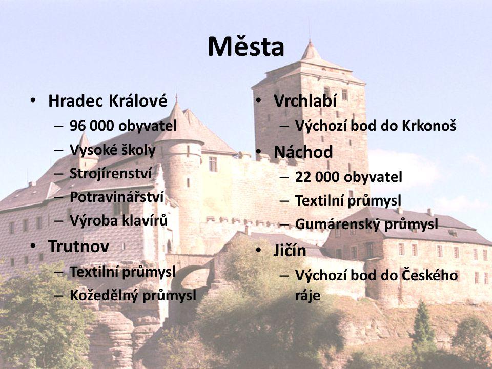 Města Hradec Králové Trutnov Vrchlabí Náchod Jičín 96 000 obyvatel
