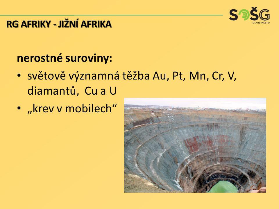 světově významná těžba Au, Pt, Mn, Cr, V, diamantů, Cu a U