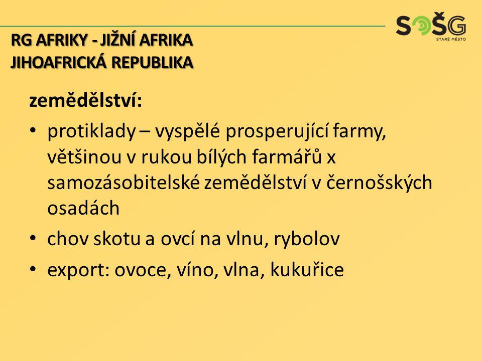 chov skotu a ovcí na vlnu, rybolov export: ovoce, víno, vlna, kukuřice