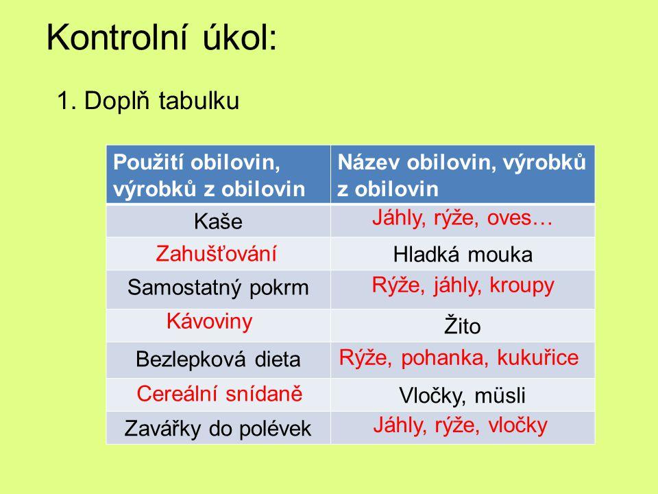 Kontrolní úkol: 1. Doplň tabulku Použití obilovin, výrobků z obilovin