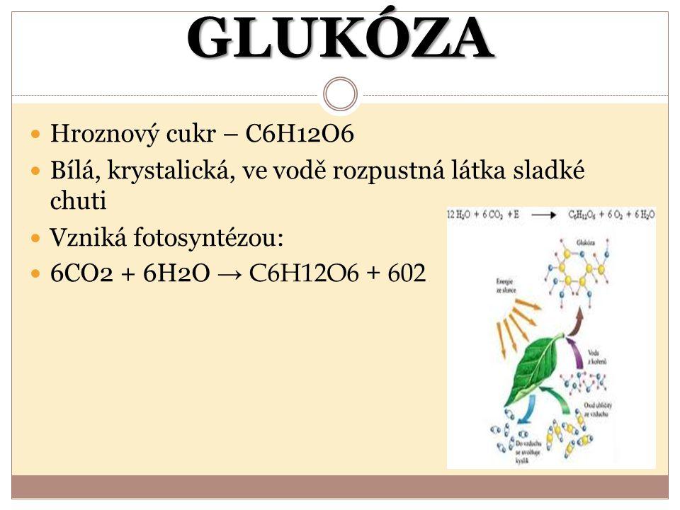 GLUKÓZA Hroznový cukr – C6H12O6