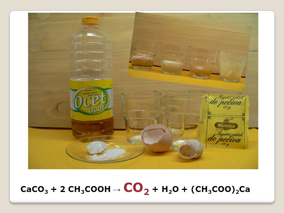 CaCO3 + 2 CH3COOH → CO2 + H2O + (CH3COO)2Ca