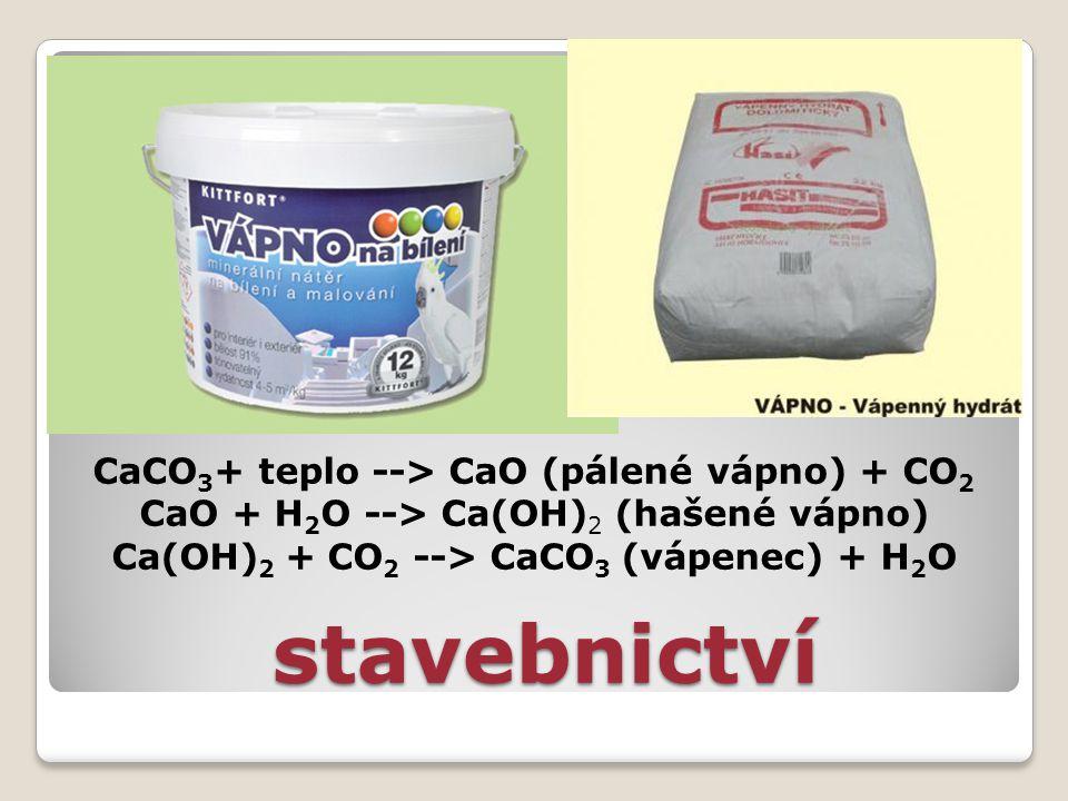 stavebnictví CaCO3+ teplo --> CaO (pálené vápno) + CO2