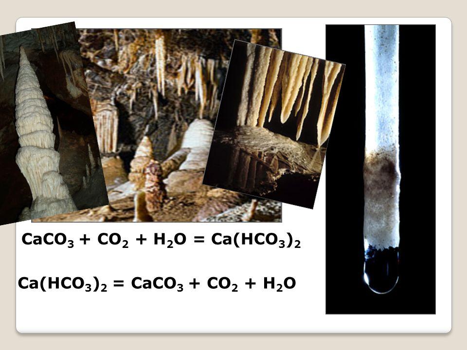 CaCO3 + CO2 + H2O = Ca(HCO3)2 Ca(HCO3)2 = CaCO3 + CO2 + H2O