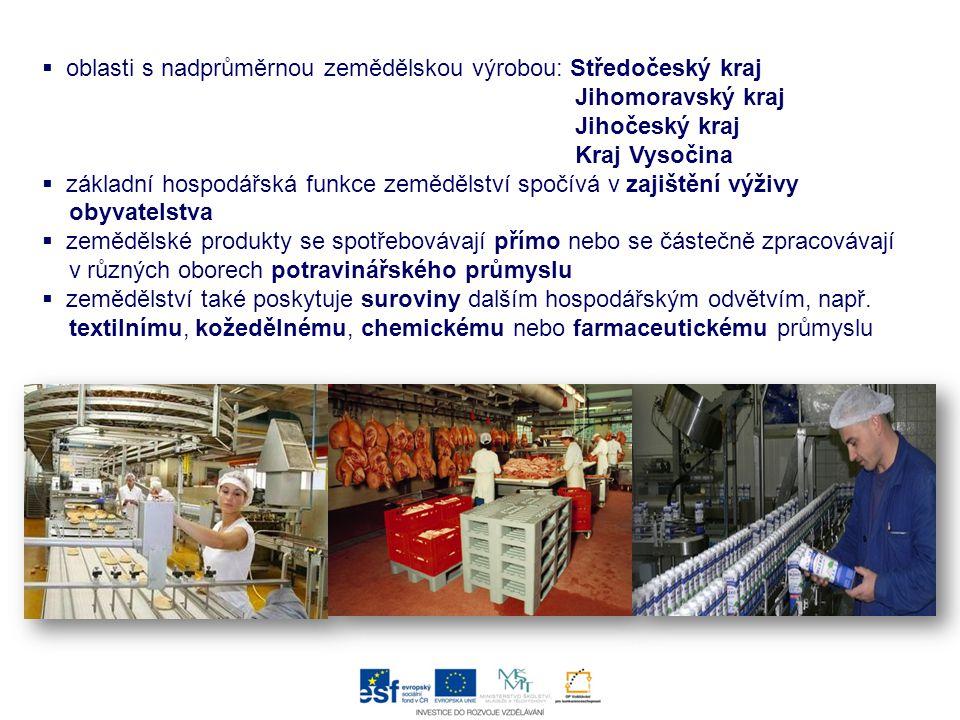oblasti s nadprůměrnou zemědělskou výrobou: Středočeský kraj Jihomoravský kraj Jihočeský kraj Kraj Vysočina