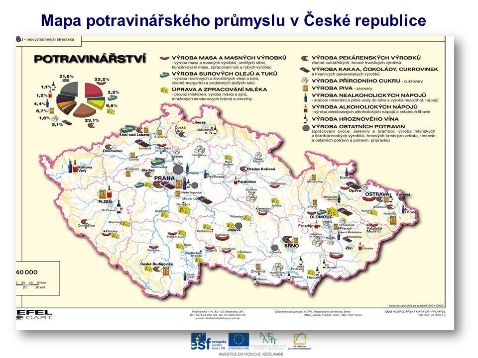 Mapa potravinářského průmyslu v České republice