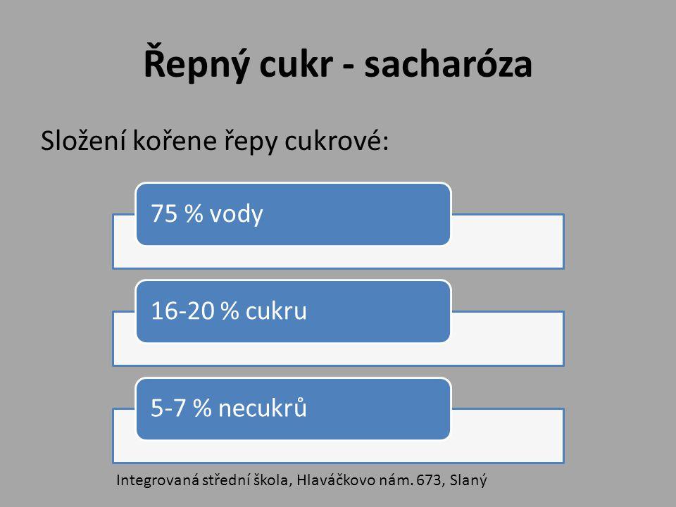 Řepný cukr - sacharóza Složení kořene řepy cukrové: 75 % vody