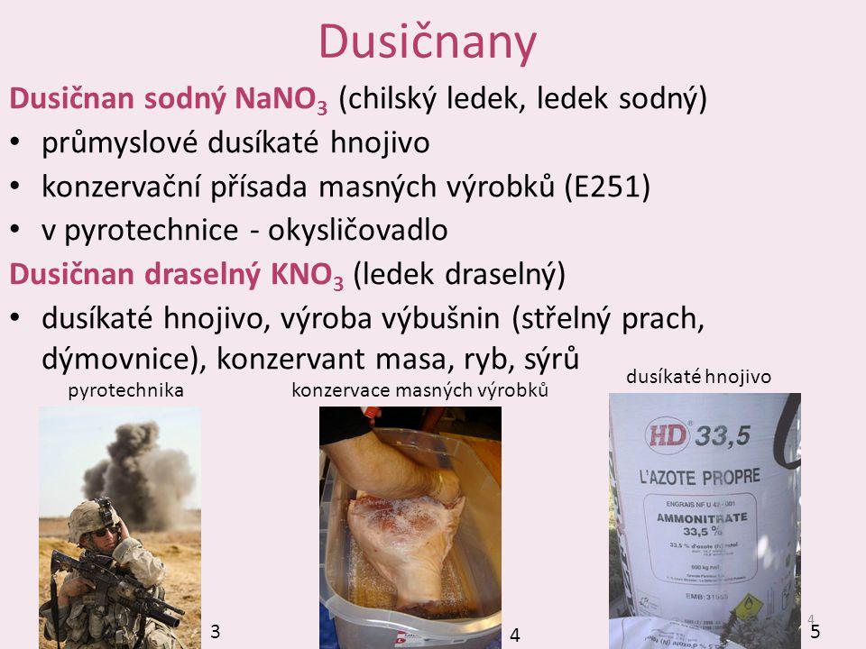 Dusičnany Dusičnan sodný NaNO3 (chilský ledek, ledek sodný)