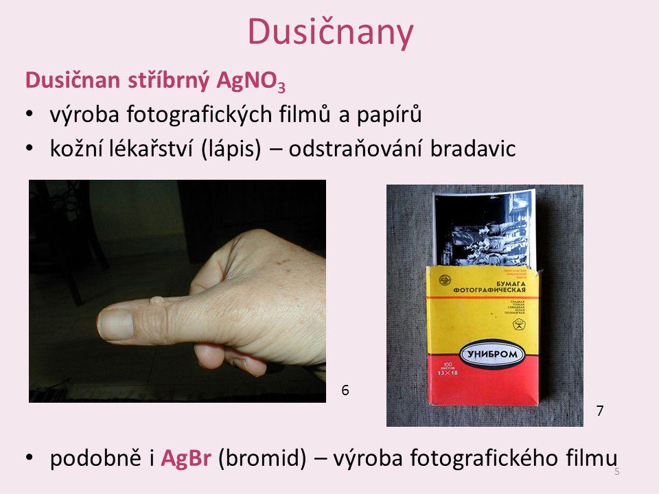 Dusičnany Dusičnan stříbrný AgNO3 výroba fotografických filmů a papírů