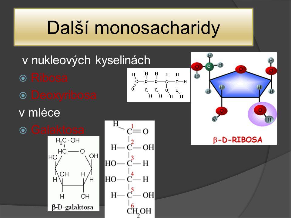 Další monosacharidy v nukleových kyselinách Ribosa Deoxyribosa v mléce
