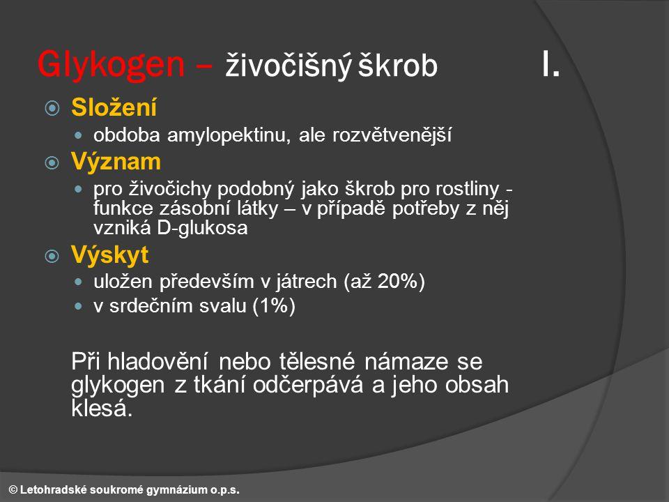 Glykogen – živočišný škrob I.
