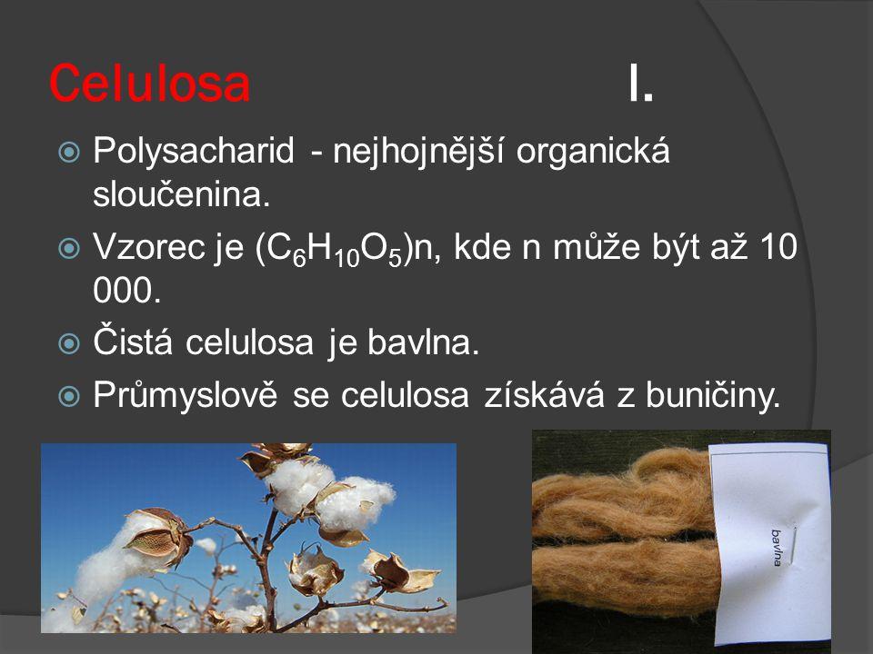 Celulosa I. Polysacharid - nejhojnější organická sloučenina.