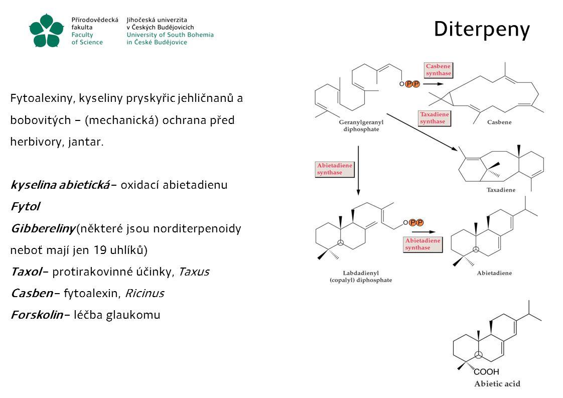 Diterpeny Fytoalexiny, kyseliny pryskyřic jehličnanů a bobovitých – (mechanická) ochrana před herbivory, jantar.