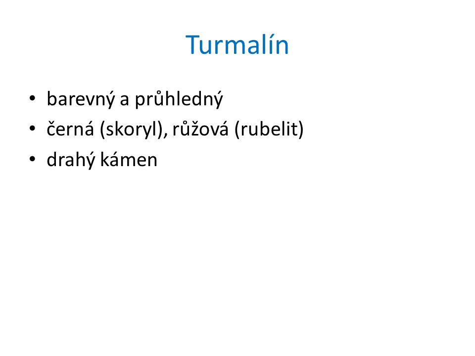 Turmalín barevný a průhledný černá (skoryl), růžová (rubelit)